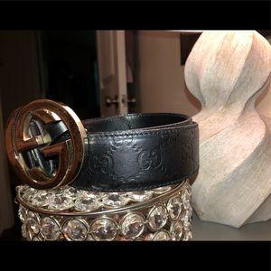 Unisex/Women Authentic Leather Gucci Double G Belt